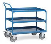 Wózek stołowy ze stalowymi tacami